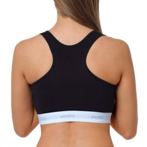 "Racerback Bustier Baumwolle Damen ""SPORT COLLECTION"" schwarz Rücken"