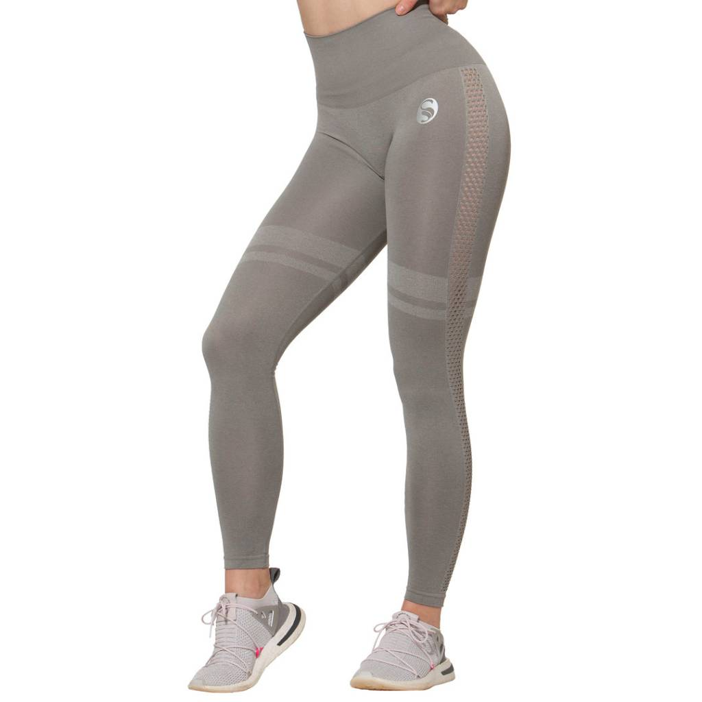 Sport Leggings High Waist , Seamless, grau
