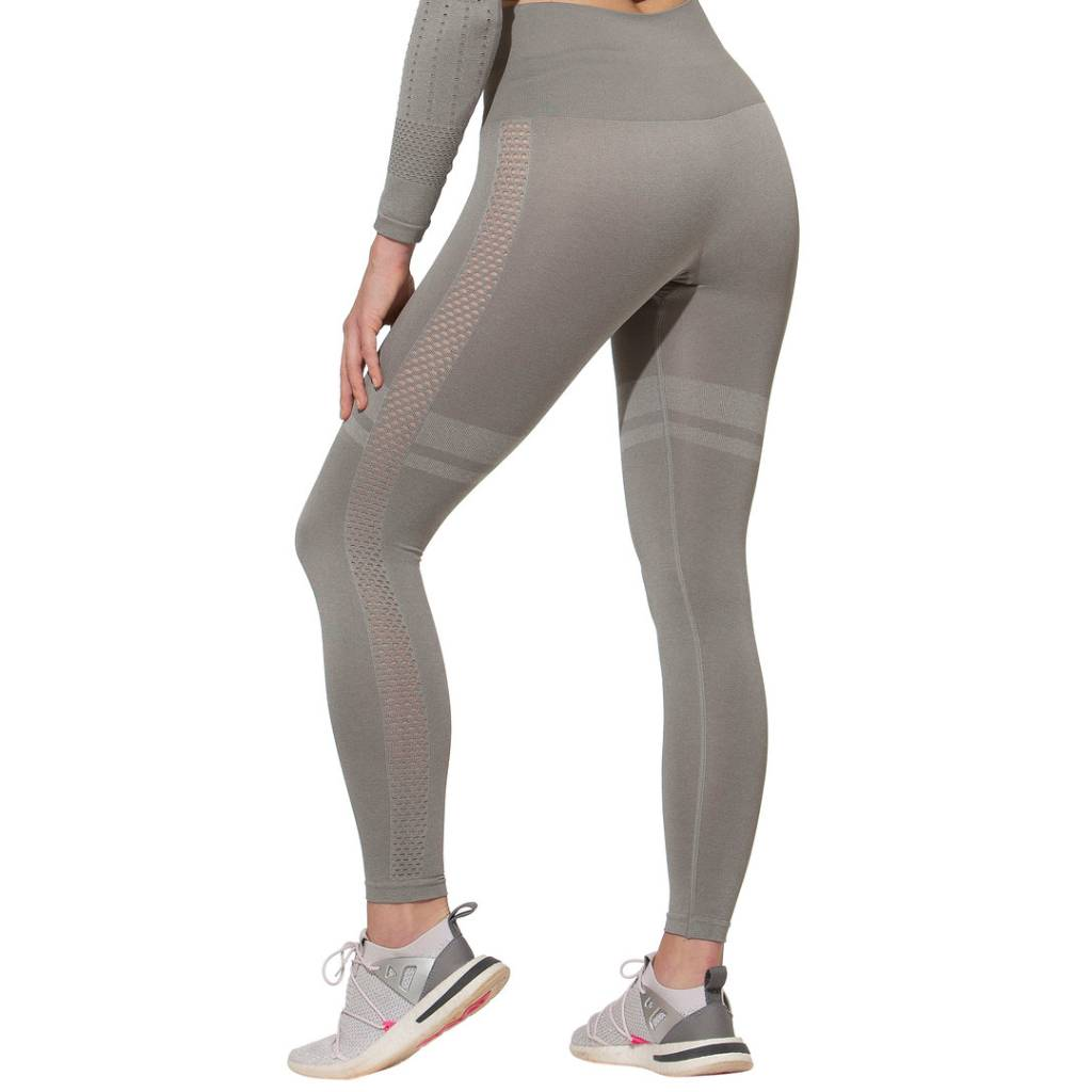 Sport Leggings High Waist , Seamless, grau hinten