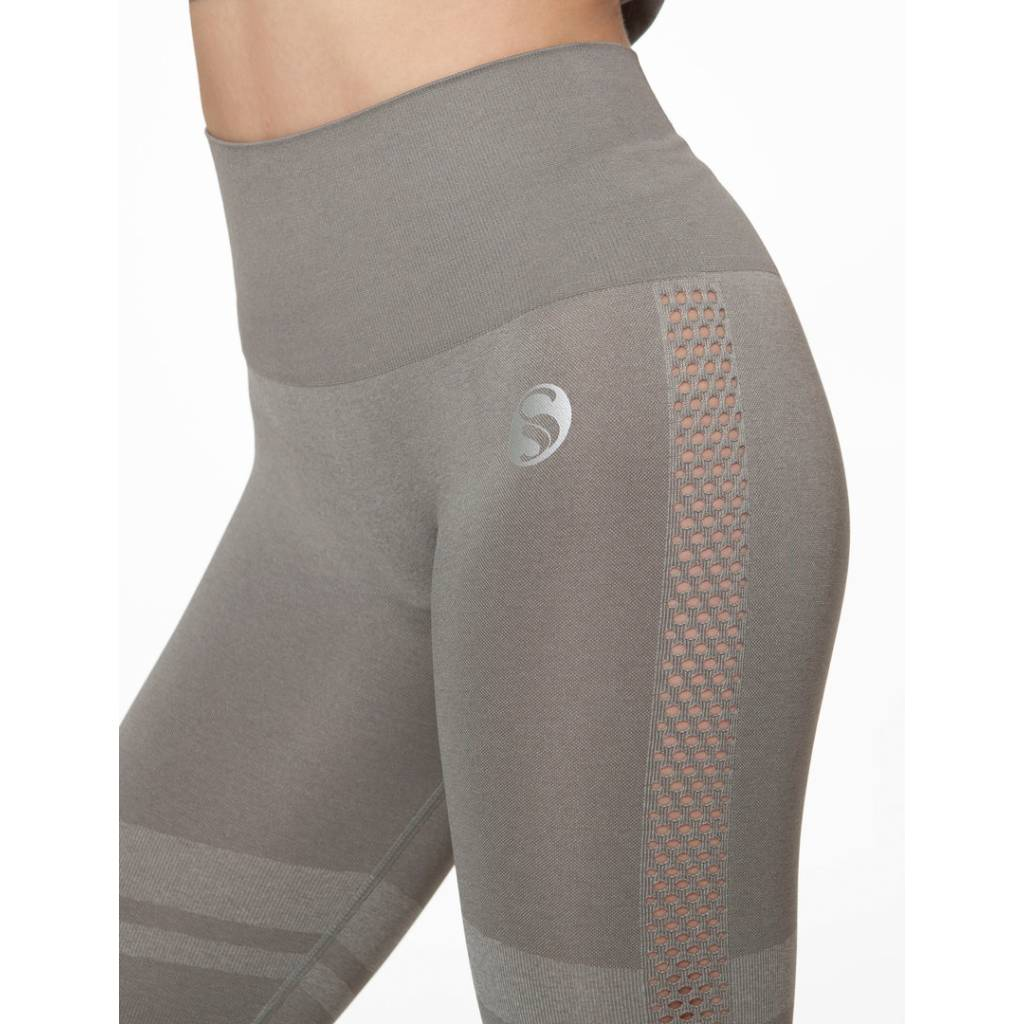 Sport Leggings High Waist , Seamless, grau Seite